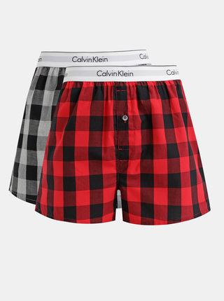 Sada dvou kostkovaných boxerek v šedé a červené barvě Calvin Klein Underwear