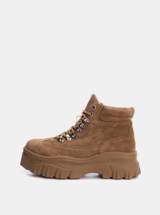Hnedé dámske semišové zimné členkové topánkyXti