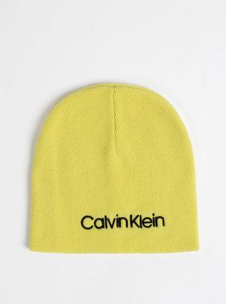 Žltá dámska vlnená čapica s prímesou kašmíru Calvin Klein Jeans