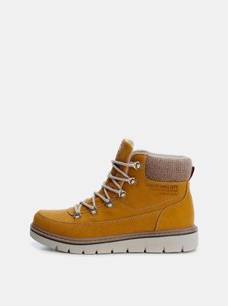 Hořčicové dámské zimní kotníkové boty Xti