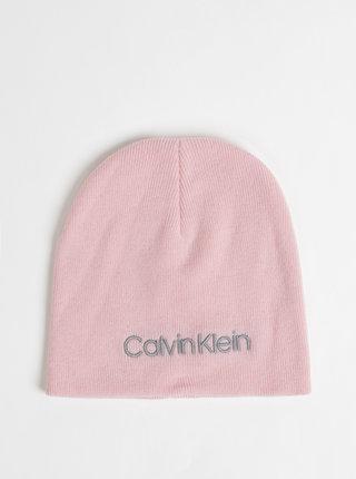 Růžová dámská vlněná čepice s příměsí kašmíru Calvin Klein Jeans