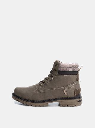 Khaki pánské kotníkové šněrovací boty Xti