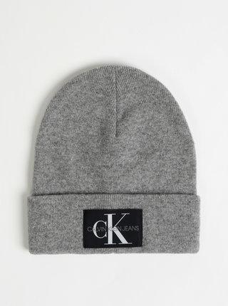 Šedá čapica s prímesou vlny a kašmíru Calvin Klein Jeans