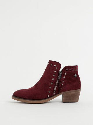 Vínové dámske členkové topánky v semišovej úprave Xti