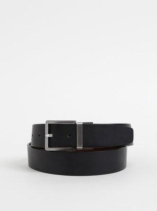 Hnědo-černý pánský oboustranný kožený pásek Calvin Klein Jeans