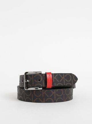 Tmavě hnědý dámský vzorovaný kožený pásek Calvin Klein Jeans