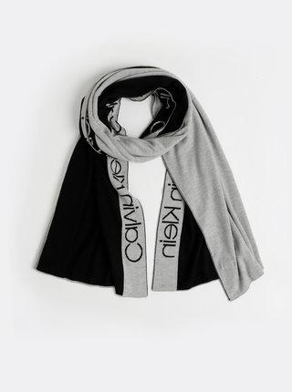Černo-šedá šála Calvin Klein Jeans