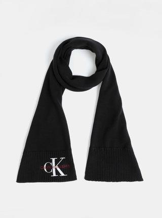 Čierny šál s výšivkou Calvin Klein Jeans