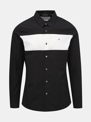 Čierna pánska slim fit košeľa Calvin Klein Jeans