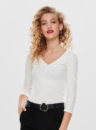 Biele rebrované tričko ONLY Gina
