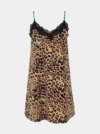 Světle hnědá noční košilka s gepardím vzorem a krajkou Pieces Jessica