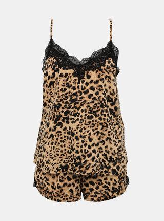 Světle hnědé pyžamo s gepardím vzorem a krajkou Pieces Jessica