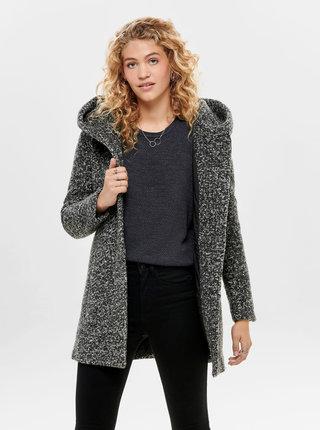 Tmavě šedý žíhaný kabát s příměsí vlny ONLY Sedona