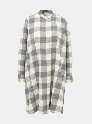 Světle šedé košilové kostkované šaty Selected Femme Fally