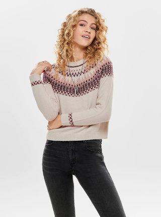 Béžový vzorovaný sveter ONLY Eyla