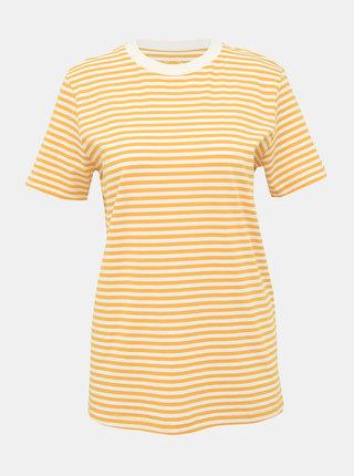 Hořčicové pruhované basic tričko Selected Femme My Perfect