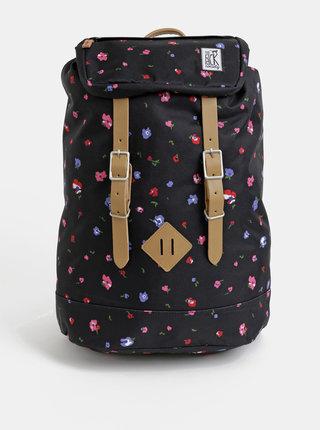 Čierny dámsky kvetovaný batoh The Pack Society