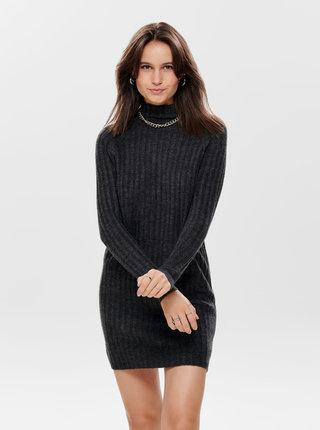 Tmavě šedé svetrové šaty ONLY New Miramar