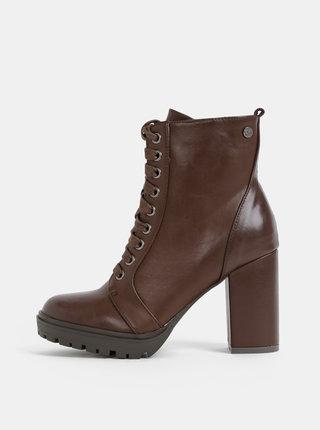 Tmavohnedé dámske členkové topánky Xti