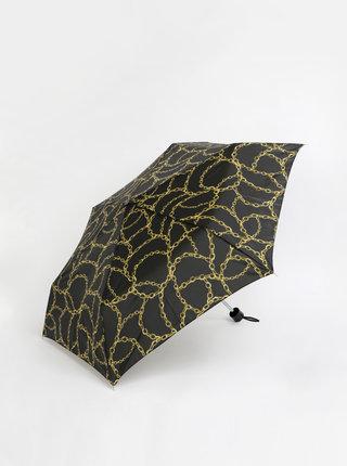 Černý vzorovaný skládací deštník M&Co