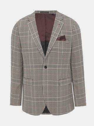 Béžové kostkované oblekové skinny fit sako Burton Menswear London
