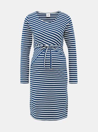 Bílo-modré pruhované těhotenské pouzdrové šaty Mama.licious Otilia