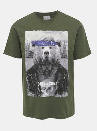 Kaki tričko s potlačou ONLY & SONS Modalu