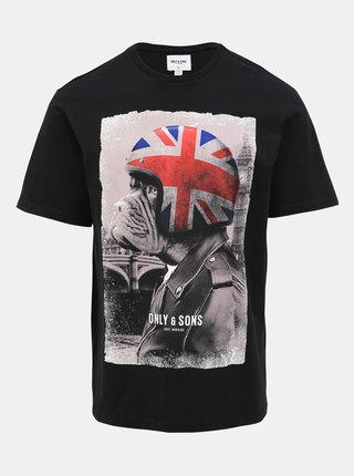 Čierne tričko s potlačou ONLY & SONS Modalu