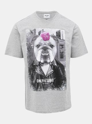 Šedé tričko s potiskem ONLY & SONS Modalu