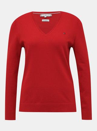 Červený dámsky basic sveter Tommy Hilfiger Heritage