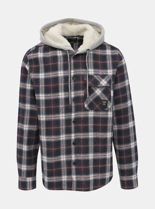Tmavomodrá kockovaná košeľa s kapucou ONLY & SONS Glen