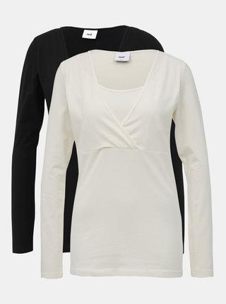 Sada dvou těhotenských/kojicích basic triček v bílé a černé barvě Mama Licious Lea