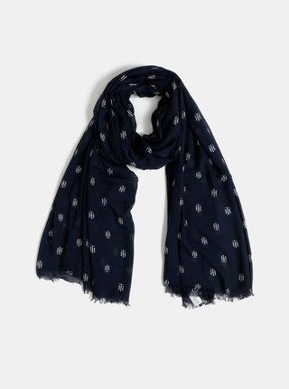 Tmavě modrý dámský vzorovaný šátek Tommy Hilfiger Monogram