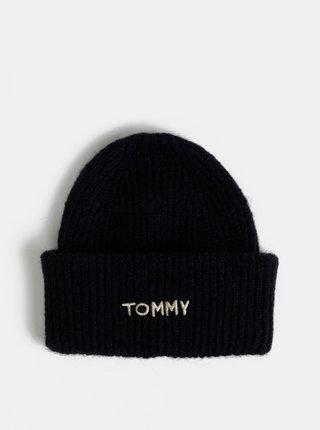 Tmavě modrá dámská čepice s příměsí vlny Tommy Hilfiger Effortless
