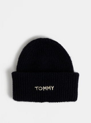 Tmavomodrá dámska čapica s prímesou vlny Tommy Hilfiger Effortless