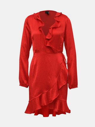 Červené zavinovacie šaty VERO MODA Henna