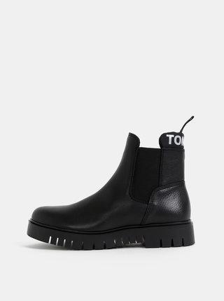 Čierne dámske kožené chelsea topánky Tommy Hilfiger