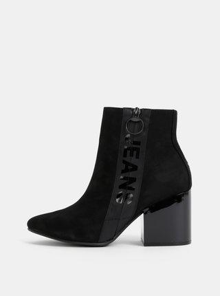 Černé dámské semišové kotníkové boty Tommy Hilfiger