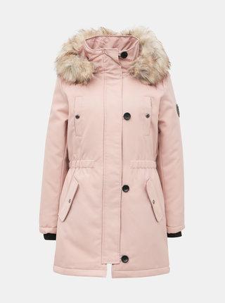 Světle růžová zimní parka ONLY Liris