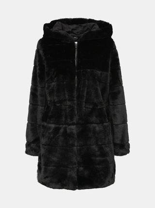 Čierny kabát z umelej kožušiny ONLY Chris