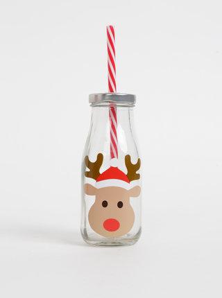 Skleněná láhev s brčkem a vánočním potiskem Sass & Belle 225 ml