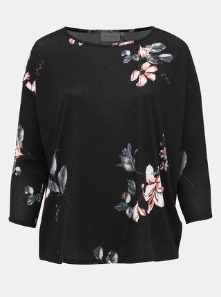 Černý lehký květovaný svetr ONLY CARMAKOMA Alba