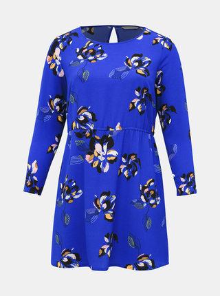 Modré kvetované šaty ONLY CARMAKOMA Lux
