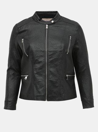 Čierna koženková bunda ONLY CARMAKOMA Mette