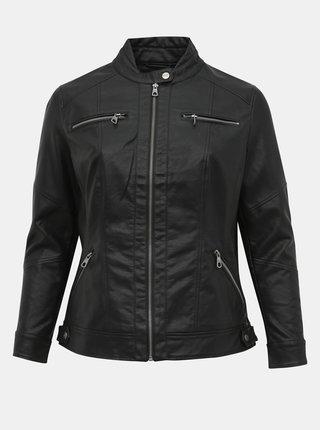 Čierna koženková bunda ONLY CARMAKOMA Balou