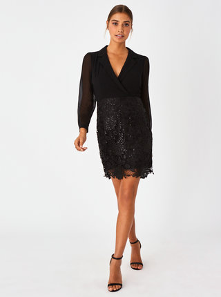 Černé pouzdrové šaty s krajkovou sukní Paper Dolls