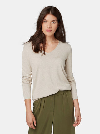 Béžový dámsky basic sveter Tom Tailor