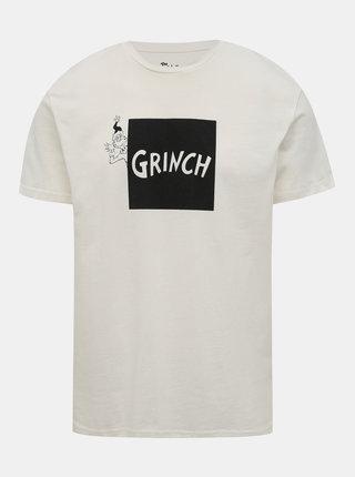 Bílé tričko s potiskem Jack & Jones Grinch