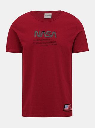 Červené tričko s potiskem Jack & Jones Berkan NASA