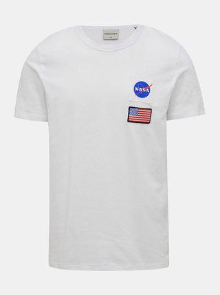 Bílé tričko s potiskem Jack & Jones Berkan NASA